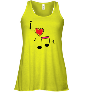 I Love Music Hearts and Fun - Bella + Canvas Women's Flowy Racerback Tank
