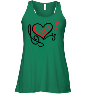 Love Music Heart Red  - Bella + Canvas Women's Flowy Racerback Tank