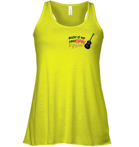 Music is my Philo-Sophie Colorful + Guitar (Pocket Size) - Bella + Canvas Women Flowy Racerback Tank