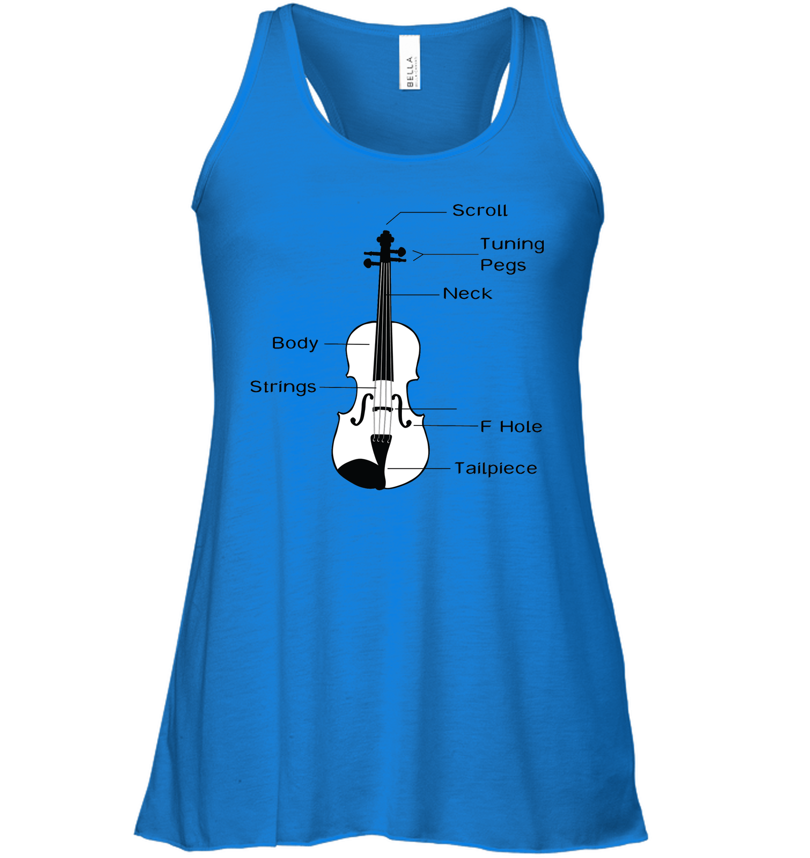 The Cello Blk Wht - Bella + Canvas Women's Flowy Racerback Tank