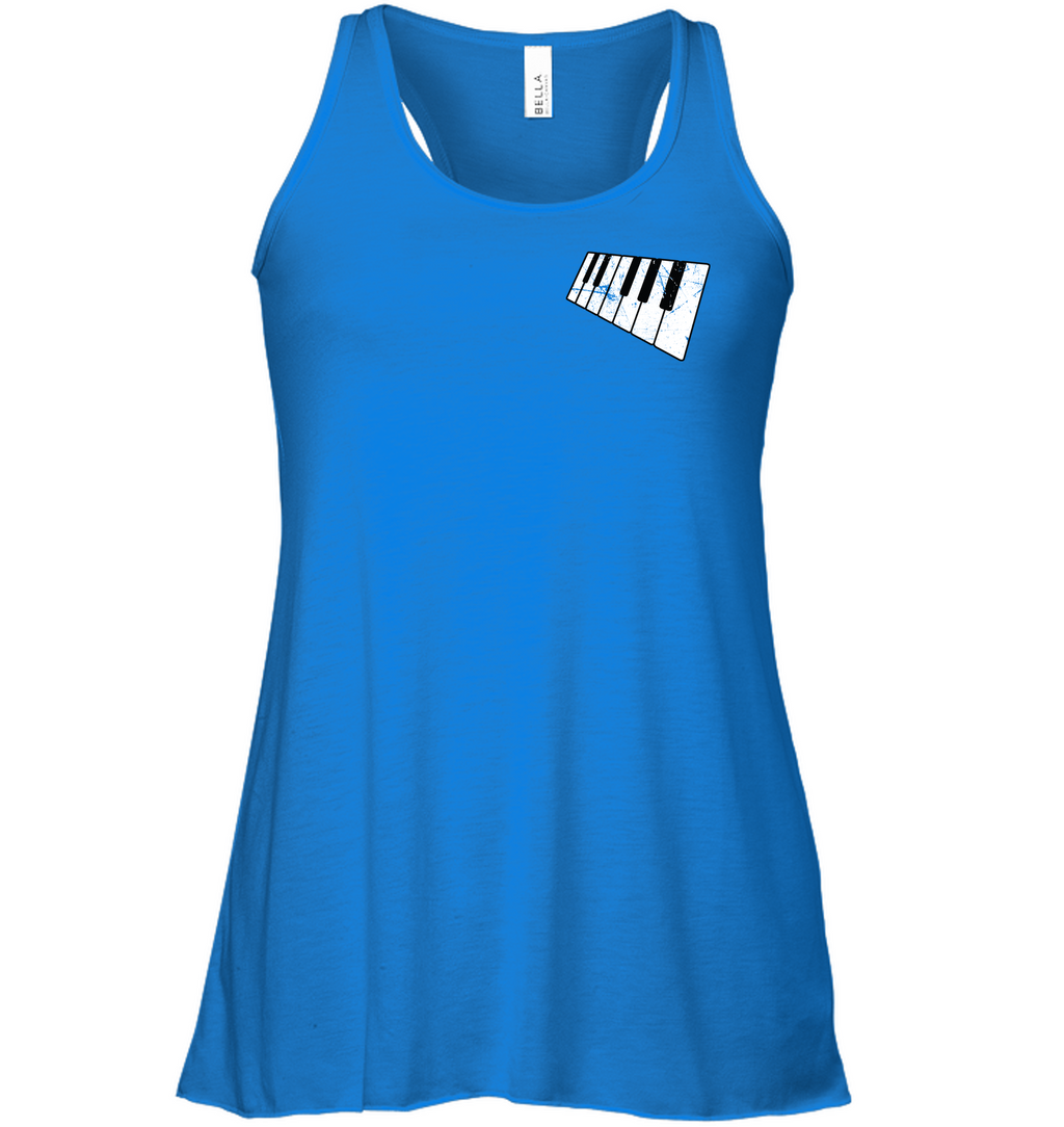 Floating Piano Keyboard (Pocket Size) - Bella + Canvas Women's Flowy Racerback Tank