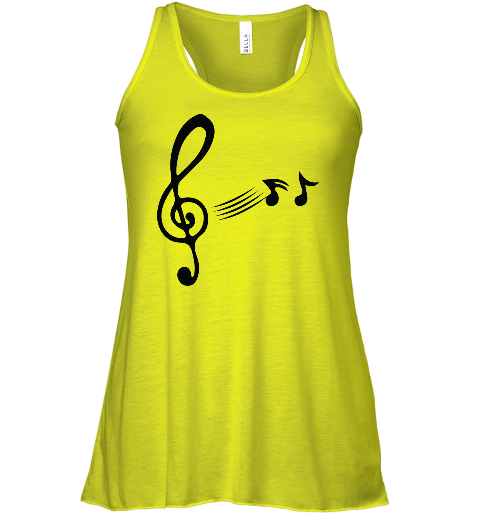 Treble Clef with floating Notes - Bella + Canvas Women's Flowy Racerback Tank