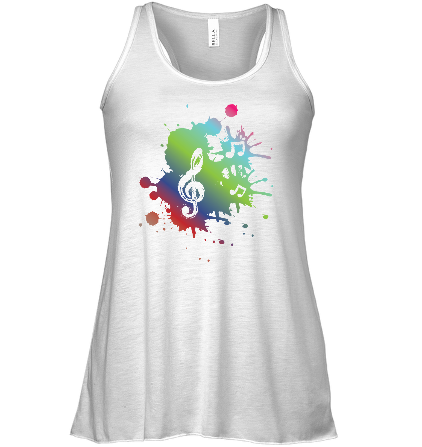 A Colorful Splash of Music - Bella + Canvas Women's Flowy Racerback Tank