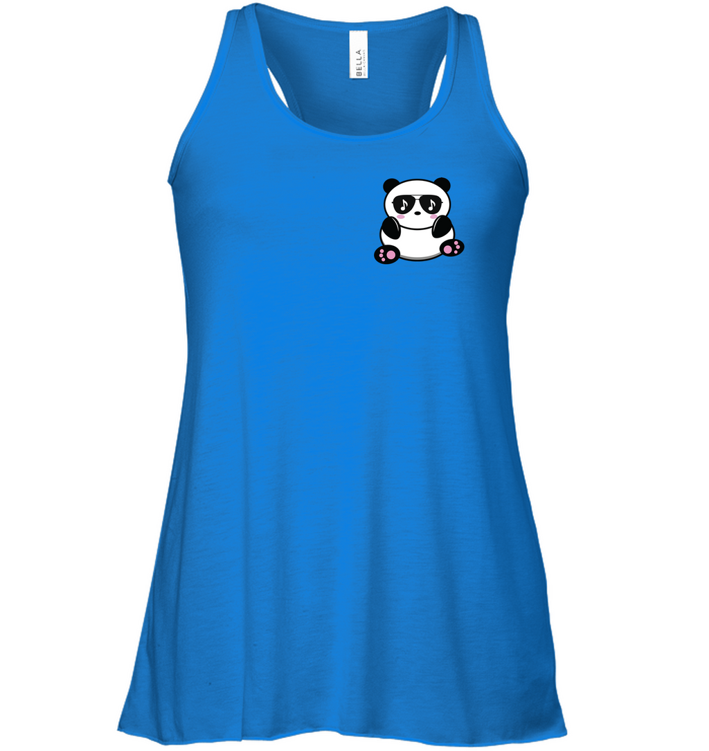 Cool Music Loving Panda feeling the beat (Pocket Size) - Bella + Canvas Women's Flowy Racerback Tank