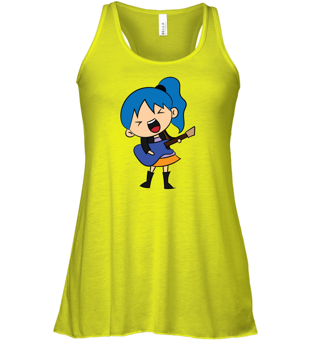 Girl Singin with Guitar - Bella + Canvas Women's Flowy Racerback Tank