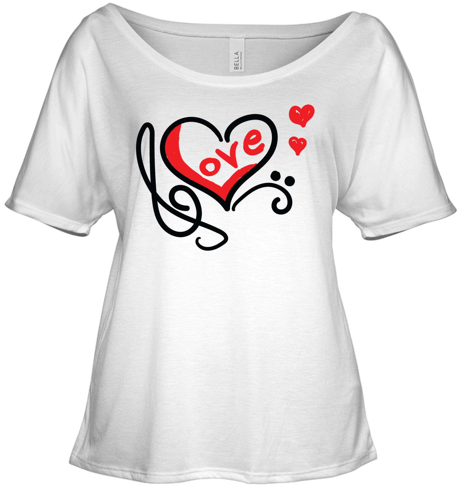Love Music Heart Red  - Bella + Canvas Women's Slouchy Tee