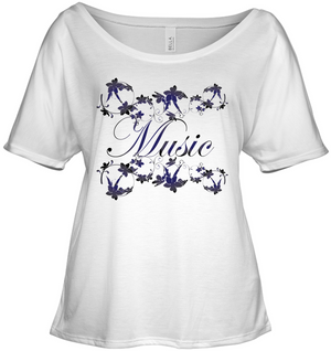 Music with Flowers - Bella + Canvas Women's Slouchy Tee