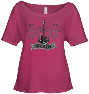 Rock On Electric Guitar - Bella + Canvas Women's Slouchy Tee