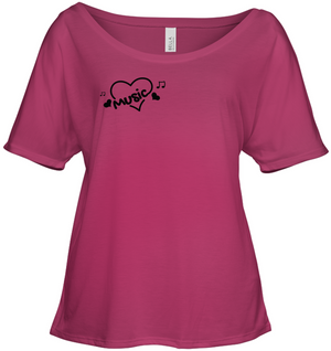 Music Hearts and Notes (Pocket Size) - Bella + Canvas Women's Slouchy Tee