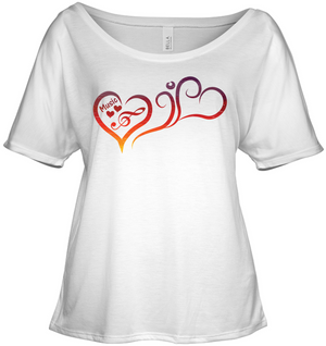 Hearts Music Fun - Bella + Canvas Women's Slouchy Tee