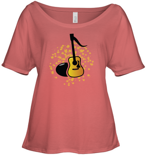 Acoustic Guitar Note - Bella + Canvas Women's Slouchy Tee