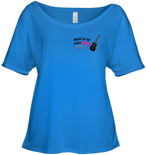 Music is my Philo-Sophie Colorful + Guitar (Pocket Size) - Bella + Canvas Women's Slouchy Tee