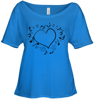 Floating Notes Heart Black - Bella + Canvas Women's Slouchy Tee