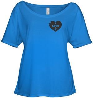 I Love Note Heart (Pocket Size) - Bella + Canvas Women's Slouchy Tee