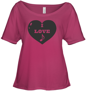 I Love Note Heart - Bella + Canvas Women's Slouchy Tee