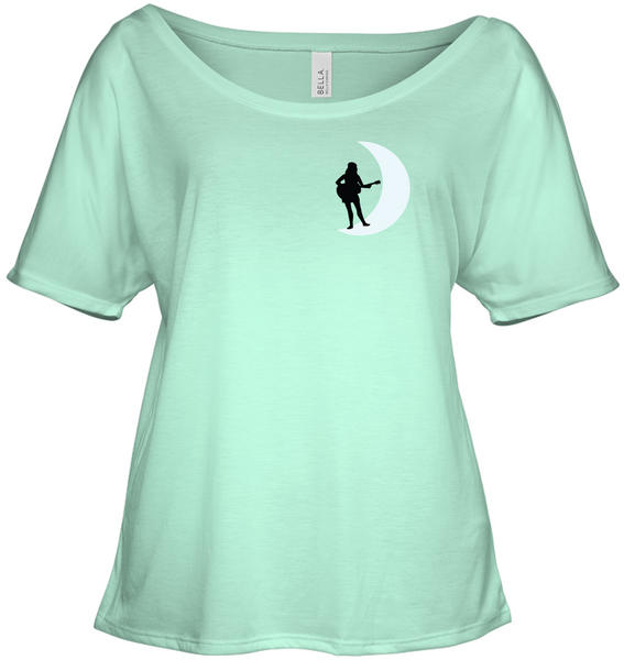 Moonlight Guitar Player White (Pocket Size)  - Bella + Canvas Women's Slouchy Tee