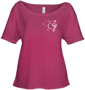 Musical heart with floating notes (Pocket Size)  - Bella + Canvas Women's Slouchy Tee