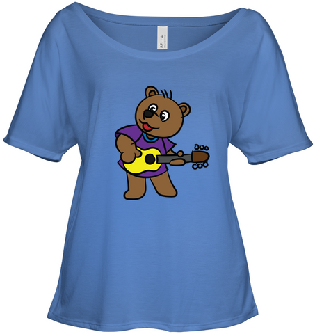 Bear Playing Guitar - Bella + Canvas Women's Slouchy Tee