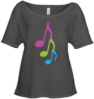 Three colorful musical notes - Bella + Canvas Women's Slouchy Tee