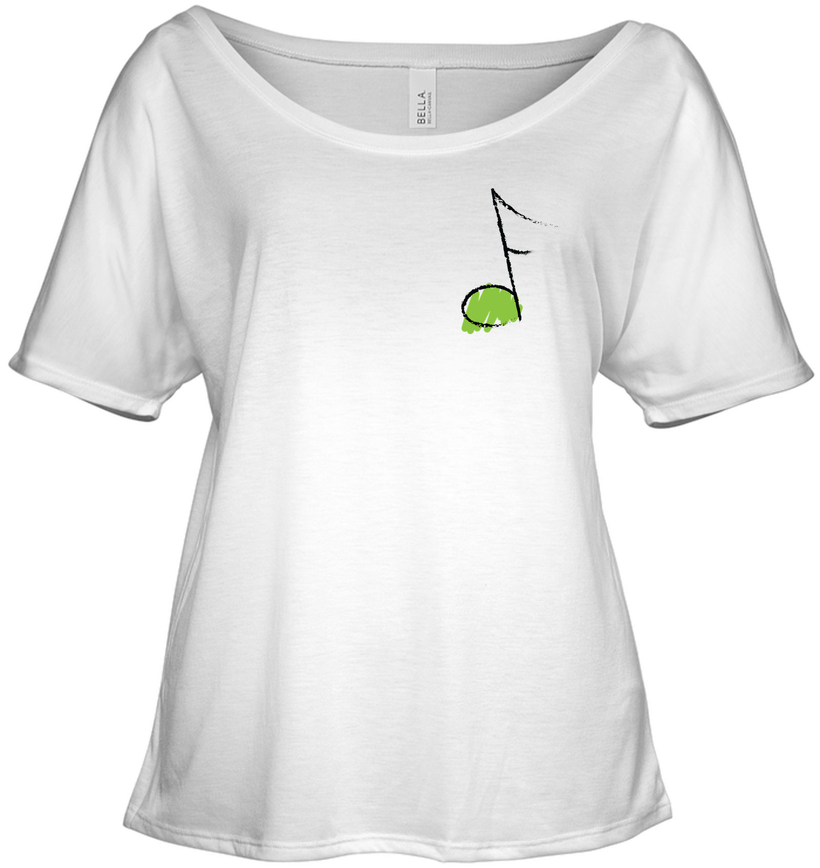 Green Note (Pocket Size) - Bella + Canvas Women's Slouchy Tee