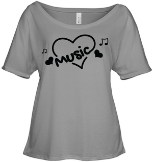 Music Hearts and Notes - Bella + Canvas Women's Slouchy Tee