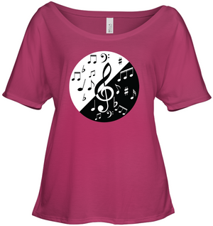 Musical Circle Red Black - Bella + Canvas Women's Slouchy Tee