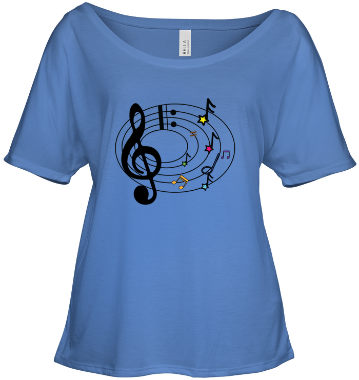 Musical Notes Spiral - Bella + Canvas Women's Slouchy Tee