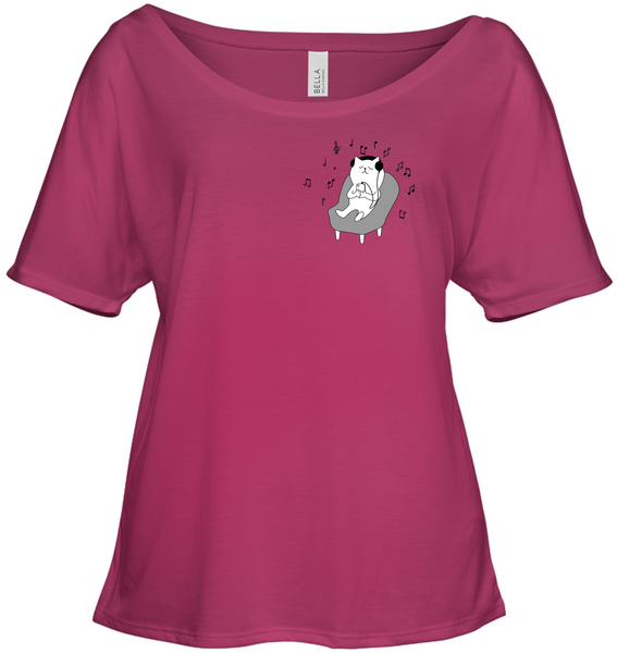Chilin Kitty (Pocket Size) - Bella + Canvas Women's Slouchy Tee