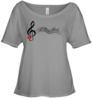 Musical Waves, Heart Notes and Colors - Bella + Canvas Women's Slouchy Tee