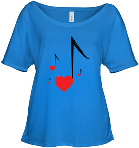 Four Floating Heart Notes  - Bella + Canvas Women's Slouchy Tee