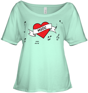 Musical Heart  - Bella + Canvas Women's Slouchy Tee