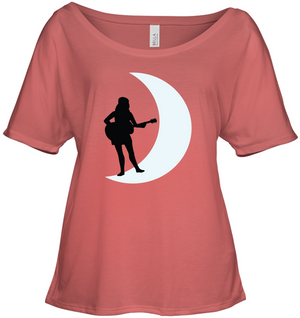 Moonlight Guitar Player White - Bella + Canvas Women's Slouchy Tee