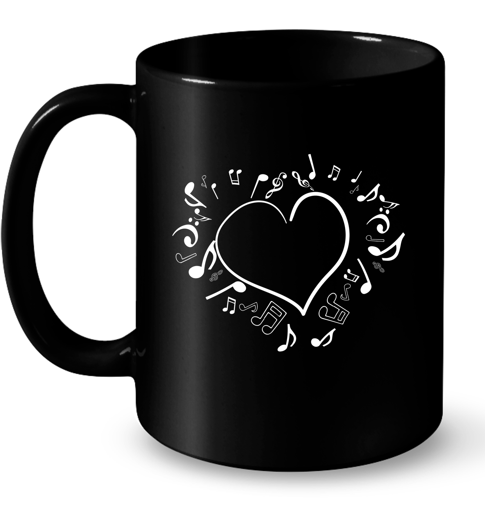 Floating Notes Heart White - Ceramic Mug