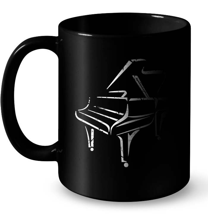 White Piano in the Shadows  - Ceramic Mug
