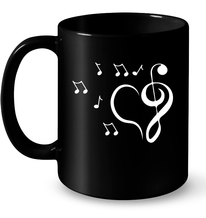 Musical heart with floating notes - Ceramic Mug