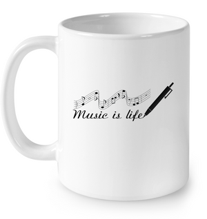 Music is Life Note - Ceramic Mug