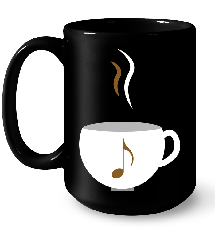 I Love Coffee with a splash of music - Ceramic Mug