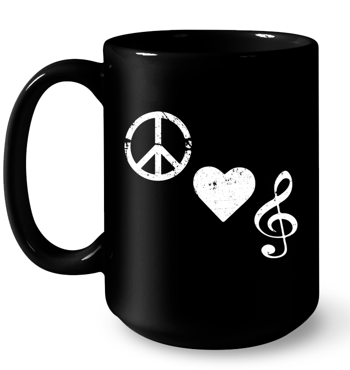 Peace Heart Musical Clef - Ceramic Mug