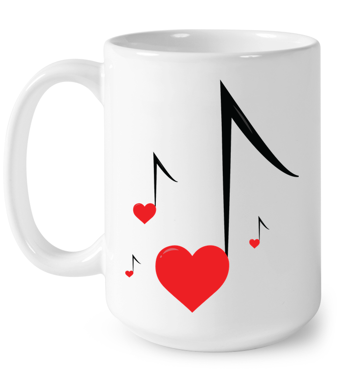 Four Floating Heart Notes - Ceramic Mug