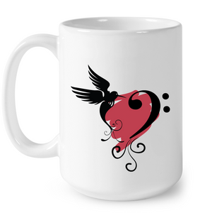 Bird and Musical Heart Red  - Ceramic Mug