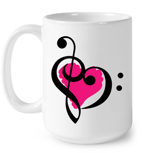 Treble Bass Pink Heart - Ceramic Mug