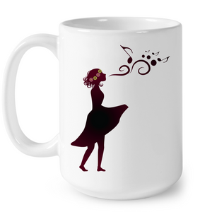 Girl Singing Silhouette - Ceramic Mug
