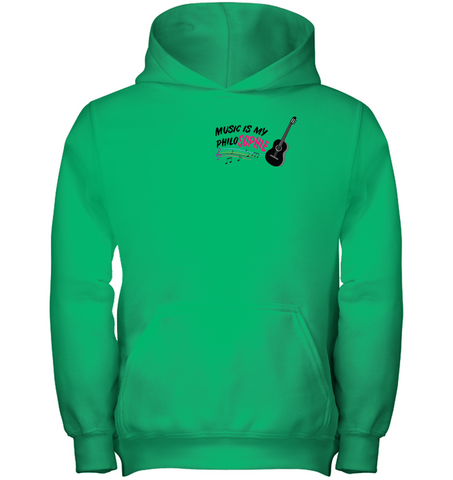 Music is my Philo-Sophie Colorful + Guitar (Pocket Size) - Gildan Youth Heavyweight Pullover Hoodie