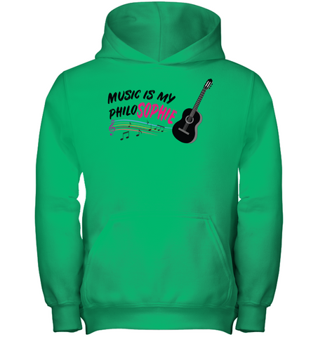 Music is my Philo-Sophie Colorful + Guitar - Gildan Youth Heavyweight Pullover Hoodie