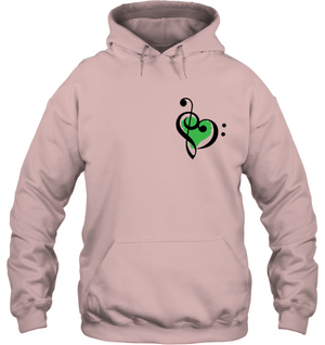 Treble Bass Green Heart (Pocket Size) - Gildan Adult Heavy Blend™ Hoodie