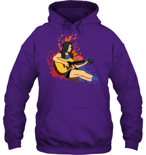 Girl Playing Guitar Splash - Gildan Adult Heavy Blend™ Hoodie