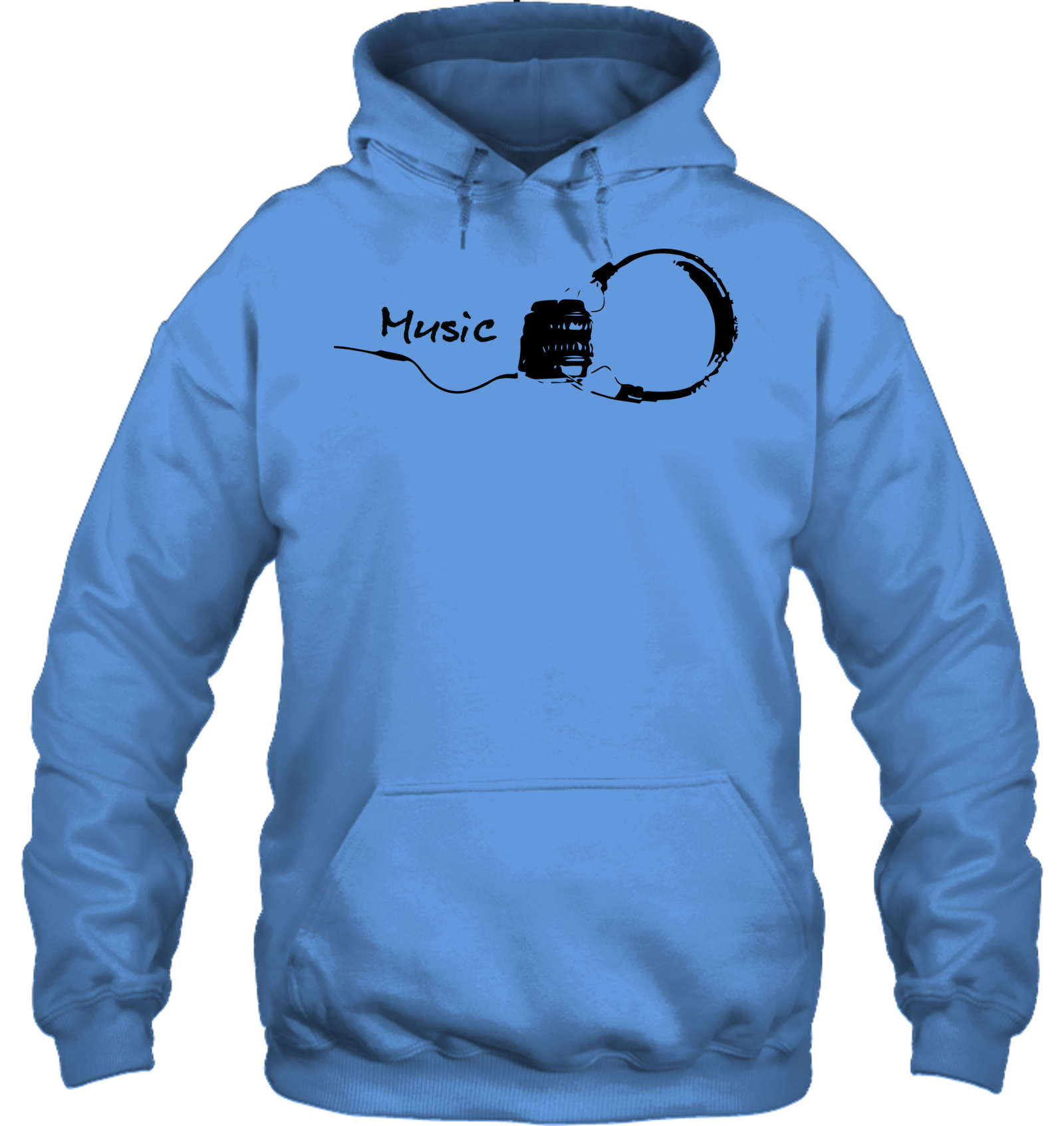 Black Headphones - Gildan Adult Heavy Blend™ Hoodie