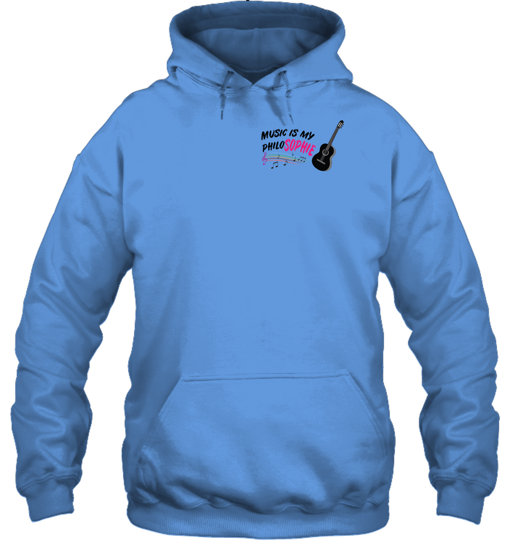 Music is my Philo-Sophie Colorful + Guitar (Pocket Size) - Gildan Adult Heavy Blend™ Hoodie