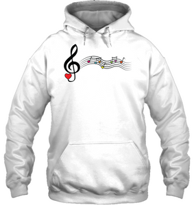 Musical Waves, Heart Notes and Colors - Gildan Adult Heavy Blend™ Hoodie