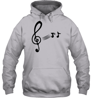 Treble Clef with floating Notes - Gildan Adult Heavy Blend™ Hoodie